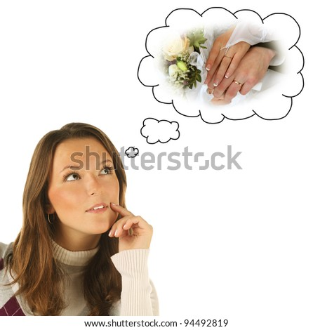 Close-up portrait of girl dreaming about marriage isolated on white background