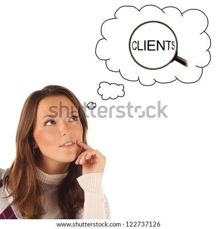 Close-up portrait of girl dreaming about searching of clients isolated on white background