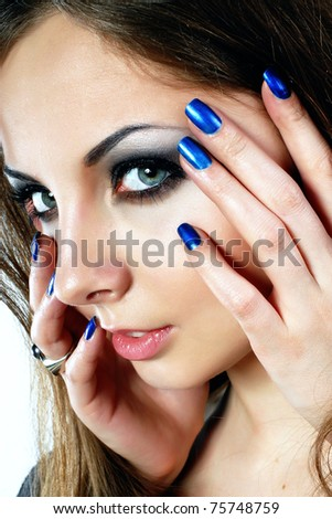 close-up portrait of girl's make up - stock photo