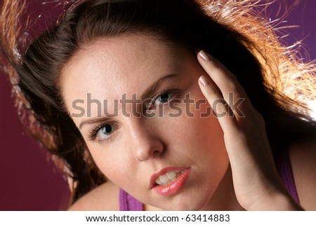 Close up portrait of glamour girl - stock photo
