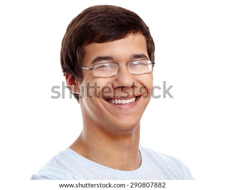 Close up portrait of handsome smiling young man wearing glasses and blue t-shirt isolated on white background - stock photo