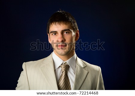 Close-up portrait of handsome young man isolated on white - stock photo