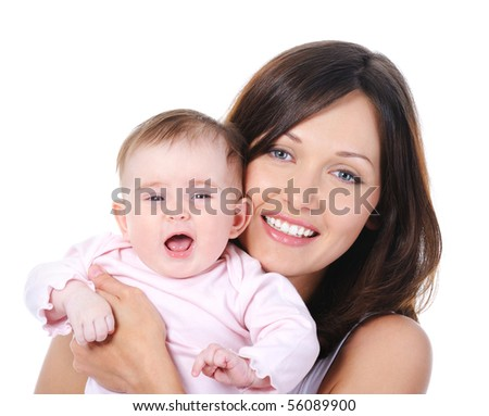 Close-up portrait of happy cheerful young mother with little baby - isolated - stock photo