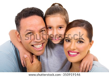 close up portrait of happy family on white background - stock photo