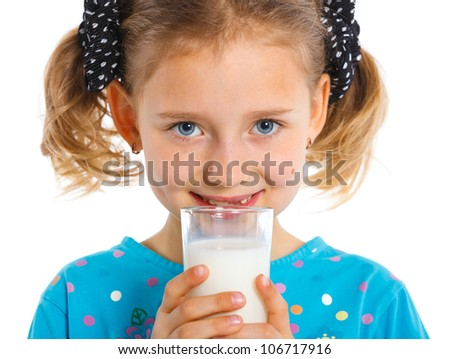 Close up portrait of happy girl with milk mustache, isolated on white.