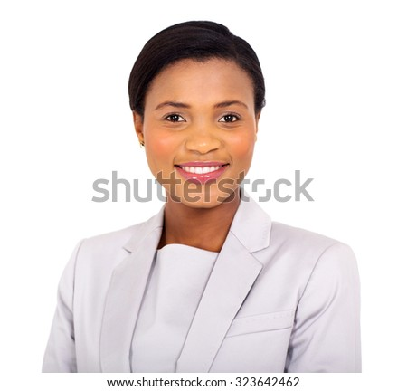 close up portrait of happy young african businesswoman - stock photo