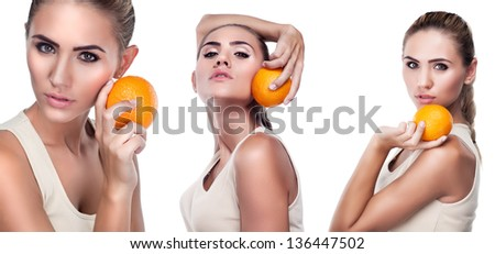 Close-up portrait of happy young woman with juice on white background.  Concept vegetarian dieting - healthy food - stock photo