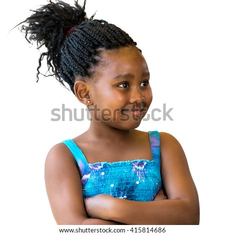 Close up portrait of little african girl with braided hair looking aside.Isolated against white background. - stock photo