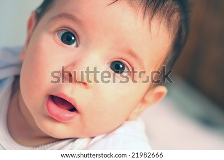 close-up portrait of my little son - stock photo