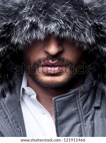 close up portrait of mysterious man - stock photo