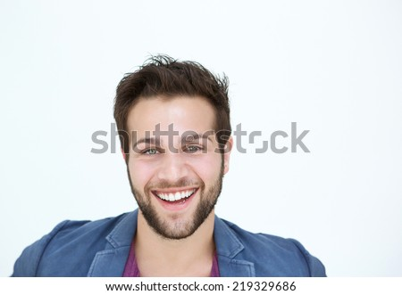 Close up portrait of one smiling man with beard on white background  - stock photo