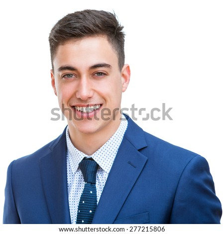 Close up portrait of Portrait of handsome young businessman in blue suit. Face shot Isolated on white background. - stock photo