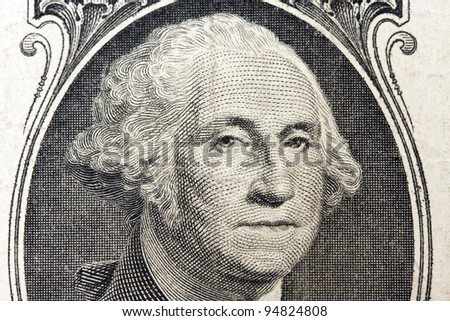 close up portrait of president washington on an one dollar bill - stock photo