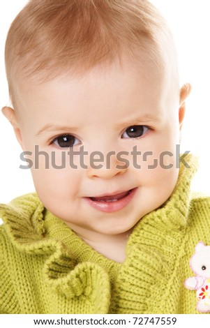 Close-up portrait of pretty happy smiling baby girl isolated on white background - stock photo