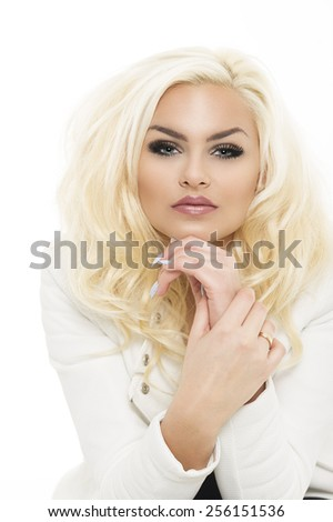 Close up Portrait of Pretty Young Blond Woman, in Fashionable White Long Sleeve Clothing, Leaning on her Hand. Isolated on White Background. - stock photo