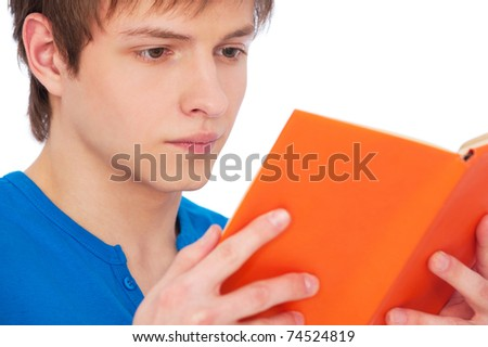 close-up portrait of reading man over white background - stock photo
