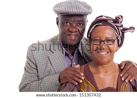 close up portrait of senior african couple on white background - stock photo