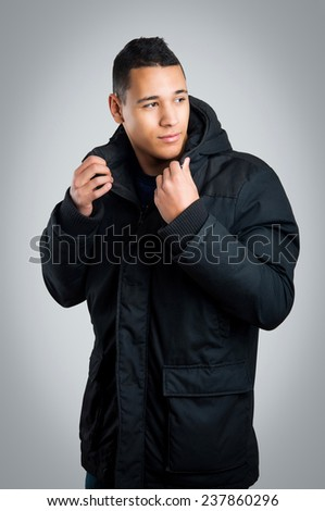 Close-up portrait of sensual young model man. - stock photo