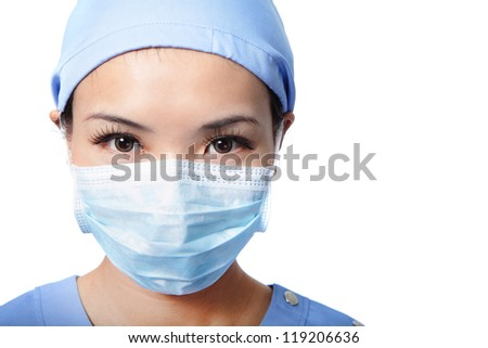 Close up portrait of serious woman nurse or doctor face in surgical mask isolated on white background, model is a asian female