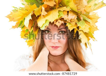close up portrait of sexual woman with  autumn wreath of maple leaves on the head on an isolated white background. More of this series on my portfolio !