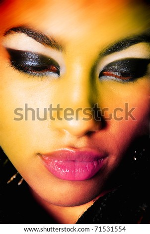 Close-up portrait of sexy African young woman model with retro glamour make-up - stock photo