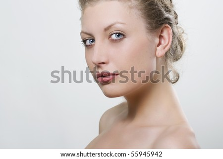 Close-up portrait of sexy caucasian young woman