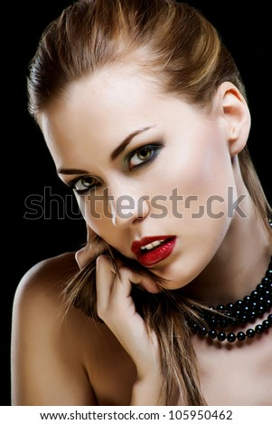 Close-up portrait of sexy caucasian young woman model with glamour red lips make-up - stock photo