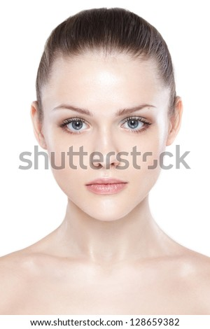 Close-up portrait of sexy caucasian young woman with beautiful blue eyes - stock photo