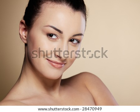 Close-up portrait of sexy caucasian young woman with beautiful brown eyes
