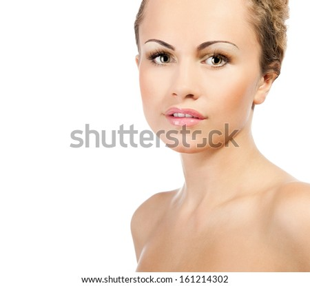 Close-up portrait of sexy caucasian young woman with beautiful grey eyes