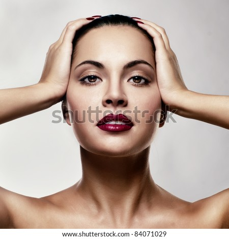 Close-up portrait of sexy caucasian young woman with glamour make-up - stock photo