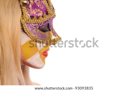 close up portrait of sexy woman with closed eyes in party mask isolated on white background