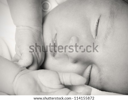 Close-up portrait of sleeping newborn baby, studio shot