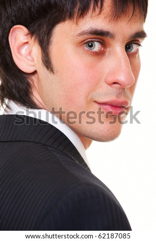 close-up portrait of smiley businessman over white background - stock photo