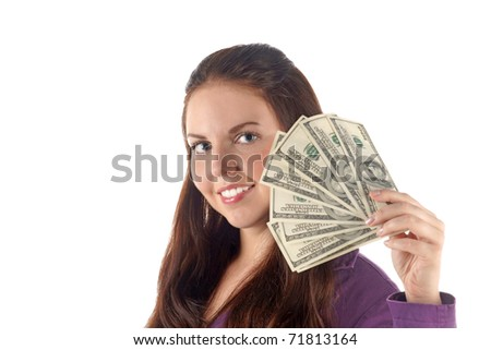Close up portrait of smiling girl with dollar's banknotes pile isolated on white background - stock photo