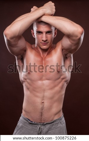 close-up portrait of smiling male model - stock photo