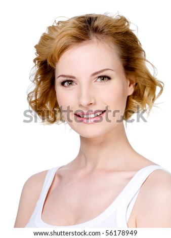 Close-up portrait of smiling young beautiful woman with blond short hair - isolated - stock photo
