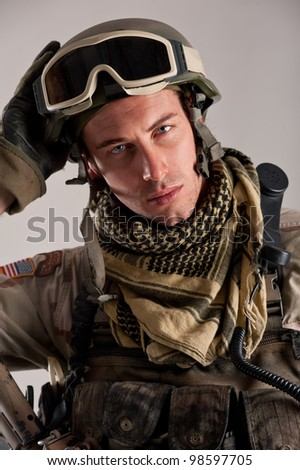 Close up portrait of soldier.