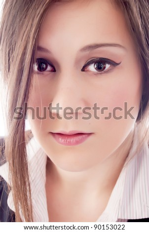 Close-up portrait of woman, elegant wear dressed and isolated ov