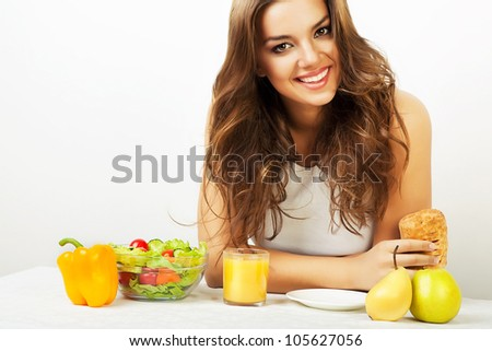 close-up portrait of woman in kitchen - stock photo