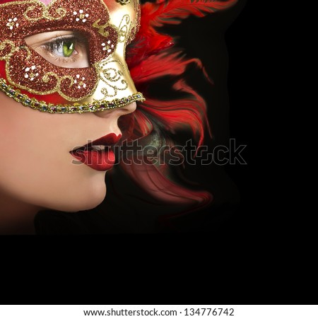 Close up portrait of woman in red mask. - stock photo