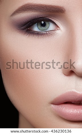 Close-up portrait of woman with beautiful face - isolated on black. Skin care concept.