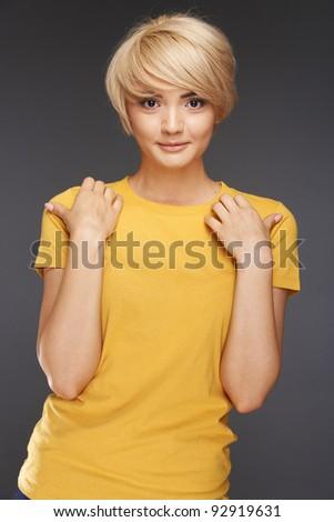 Close-up portrait of yong woman . Beauty face studio shoot - stock photo