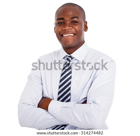 close up portrait of young african business man - stock photo