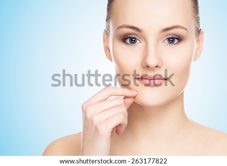 Close-up portrait of young, beautiful and healthy woman  - stock photo