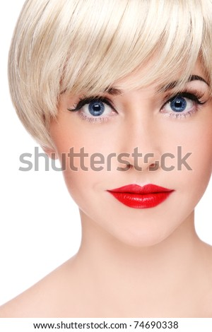 Close-up portrait of young beautiful blond girl with stylish make-up, on white background - stock photo