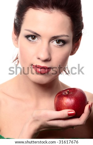 close-up portrait of young beautiful healthy woman with red apple isolated on white