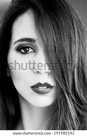 Close up portrait of young beautiful woman - stock photo