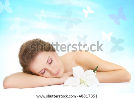 close up portrait of young beautiful woman on natural background
