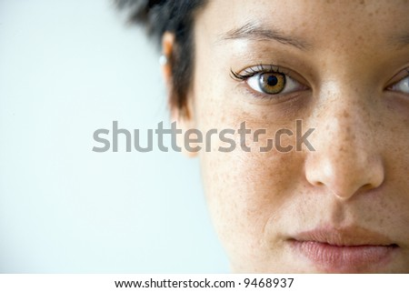 Close up portrait of young Caucasian woman. - stock photo